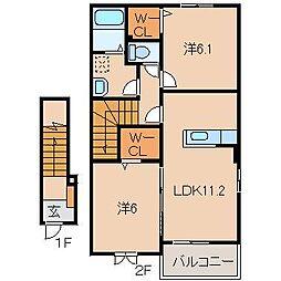 JR阪和線 紀伊駅 バス10分 相谷西下車 徒歩1分の賃貸アパート 2階2LDKの間取り