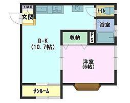 コーポ秋桜 2階1LDKの間取り