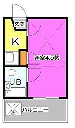 東京都東村山市美住町2丁目の賃貸アパートの間取り