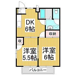 長野県松本市梓川倭の賃貸アパートの間取り