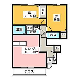 カーサ花水木 C[1階]の間取り