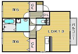 アウローラ B棟[2階]の間取り