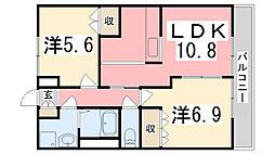 兵庫県加古川市尾上町旭2丁目の賃貸アパートの間取り