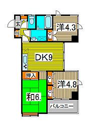 埼玉県さいたま市浦和区北浦和3丁目の賃貸マンションの間取り