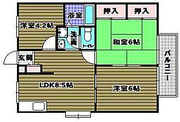 エステートピア武田[2階]の間取り