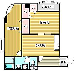 ルミナール加賀屋[405号室]の間取り