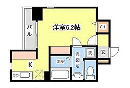 JR京浜東北・根岸線 川崎駅 バス13分 浜町3丁目下車 徒歩1分の賃貸マンション 7階ワンルームの間取り