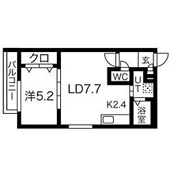 プルミエ栄通19 3階1LDKの間取り