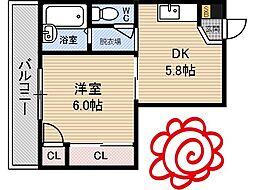 JR片町線(学研都市線) 徳庵駅 徒歩5分の賃貸マンション 3階1DKの間取り