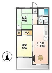 春日井中央マンション[6階]の間取り