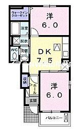 JR山陽本線 岡山駅 バス48分 桜が丘東五丁目下車 徒歩3分の賃貸アパート 1階2DKの間取り