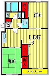 埼玉県越谷市蒲生2丁目の賃貸マンションの間取り