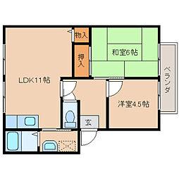 奈良県奈良市大安寺西1丁目の賃貸アパートの間取り