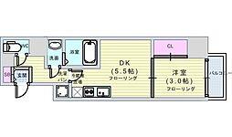 セレニテ本町reflet(ルフレ) 4階1DKの間取り