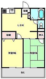 兵庫県神戸市北区北五葉4丁目の賃貸アパートの間取り