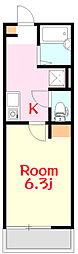 リーヴェルポート西横浜FERIO 1階1Kの間取り