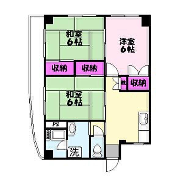 東京都足立区千住緑町2丁目の賃貸マンションの間取り