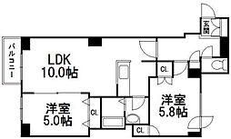 北海道札幌市中央区北十二条西15丁目の賃貸マンションの間取り