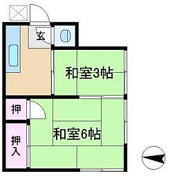 東京都文京区本駒込3丁目の賃貸アパートの間取り
