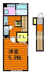 JR山陽本線 倉敷駅 徒歩13分の賃貸アパート 2階1Kの間取り