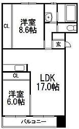 北海道札幌市西区西野六条3の賃貸マンションの間取り
