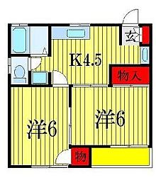 ビューラーカミヤマS−1[2階]の間取り