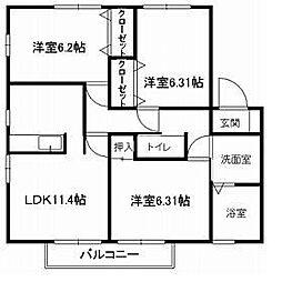 福岡県福岡市早良区重留7丁目の賃貸アパートの間取り