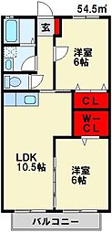 福岡県遠賀郡水巻町頃末北2丁目の賃貸アパートの間取り