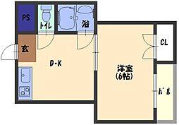 花パーク・エム 1階1DKの間取り