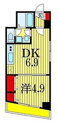シャルム・ドゥ・プランドールI 3階1DKの間取り