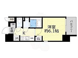 エスリード新大阪グランゲートノース 7階1Kの間取り