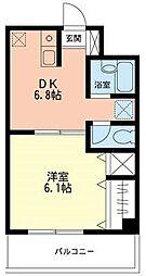 ジュネス西湘[208号室]の間取り
