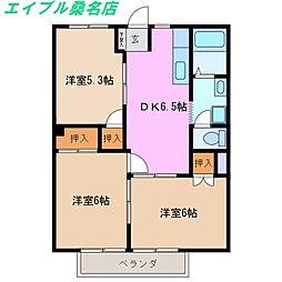 三重県桑名市大字安永の賃貸アパートの間取り