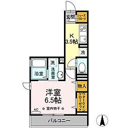 横浜市営地下鉄ブルーライン 片倉町駅 徒歩14分の賃貸アパート 2階1Kの間取り