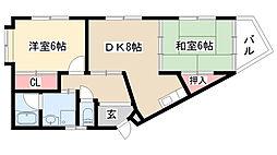 愛知県名古屋市緑区鳴海町字前之輪の賃貸マンションの間取り