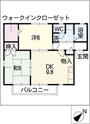 グランシャリオK[1階]の間取り