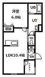 ひまわり 2階1LDKの間取り