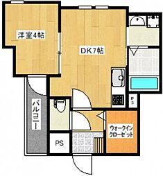 福岡県久留米市東和町の賃貸アパートの間取り