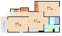 ウィスタリアハウスA[1階]の間取り