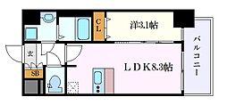 名古屋市営名城線 矢場町駅 徒歩5分の賃貸マンション 6階1LDKの間取り