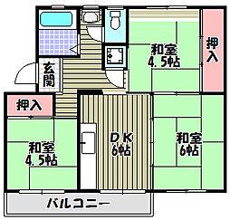 金剛第三住宅 222棟[4階]の間取り