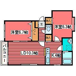 プラティコ福住[1階]の間取り