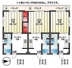 東京都板橋区成増3の賃貸マンションの間取り