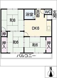 スターハイツ八幡[2階]の間取り