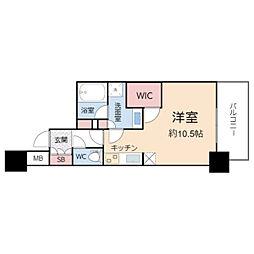 ザ・パークハビオ堂島 8階ワンルームの間取り