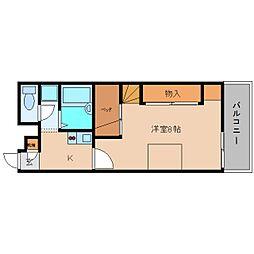 近鉄大阪線 五位堂駅 徒歩6分の賃貸アパート 3階1Kの間取り