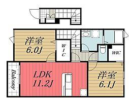 千葉県佐倉市江原の賃貸アパートの間取り