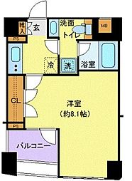 ディアレイシャス東京ベイ潮見 6階1Kの間取り