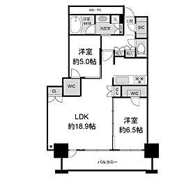 阿波座ライズタワーズフラッグ46[38階]の間取り