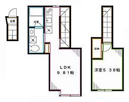 JR総武線 東中野駅 徒歩8分の賃貸アパート 2階1LDKの間取り